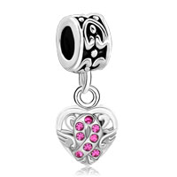 Charms Beads - silver celtic knot charm bracelet spacers rose pink crystal bracelet Image.