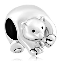Charms Beads - silver silver tone cute polar ice bear animal charms for bracelets Image.