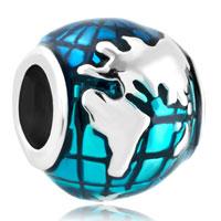 Silver Silver Lucky Charm Bracelet Ocean Blue Earth World Globe