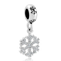Charms Beads - silver snowflake dangle lucky charms bracelets clear white crystal Image.