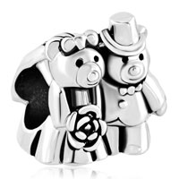 Charms Beads - silver plated love bouquet teddy care bear charm bracelet couples Image.