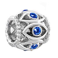 Charms Beads - silver birthstone blue crystal filigree evil eye charm bracelet Image.