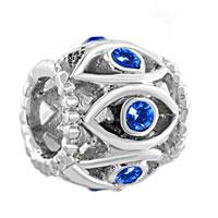 Charms Beads - silver birthstone blue crystal filigree evil eye charm bracelet Image.
