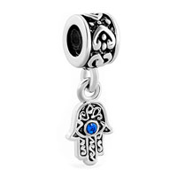 Charms Beads - blue evil eye hamsa hand of fatima dangle charm bracelet spacer heart Image.