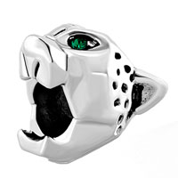 Charms Beads - emerald green crystal eye anger panther animal silver/ p beads charms bracelets fit all brands Image.