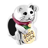 Charms Beads - 3 d good lucky cat maneki neko animal beads charms bracelets fit all brands Image.
