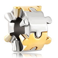 Charms Beads - two puzzle piece charm bracelet spacer european bead bracelets Image.
