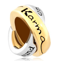 Charms Beads - link charm for couples ring words lkarma what goes around comes around Image.