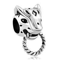 Charms Beads - silver plated emerald green cz eye panther animal puma cougar beads charms bracelets fit all brands Image.