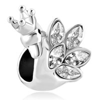 Charms Beads - clear white crystal feather crown swan princess beads charms bracelets fit all brands Image.