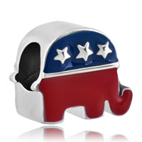 Charms Beads - silver plated the elephant american party usa flag beads charms bracelets fit all brands Image.