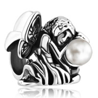 Charms Beads - freshwater pearl fairy flower angel silver/ p beads charms bracelets fit all brands Image.