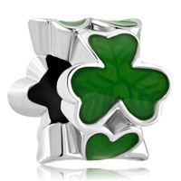 Charms Beads - silver plated green three leaf clover shamrock beads charms bracelets fit all brands Image.