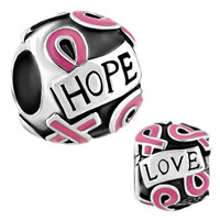 Charms Beads - silver plated breast cancer awareness pink ribbon courage hope beads charms bracelets fit all brands Image.