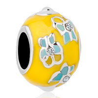 New Arrivals - easter flower yellow faberge egg crystal beads charms bracelets fit all brands Image.