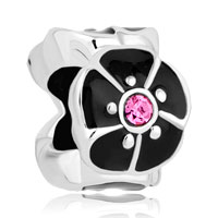 New Arrivals - silver/ p black open petal flower fit all brands beads charms bracelets Image.