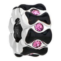 New Arrivals - silver/ p rose pink crystal black bowknot spacer beads charms bracelets fit all brands Image.