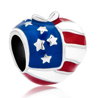 Charms Beads - america usa flag heart love charms for bracelets Image.