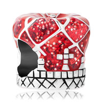 Charms Beads - red royal crown silver plated for beads charms bracelets fit all brands Image.