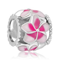 Charms Beads - new pink flower enamel for beads charms bracelets fit all brands Image.