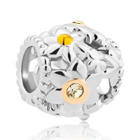 New Arrivals - flower pave with clear yellow crystal cz for beads charms bracelets fit all brands Image.