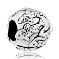Charms Beads - fish pave silver plated for beads charms bracelets fit all brands Image.
