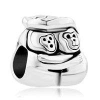 Charms Beads - funny monkey with leaf for silver beads charms bracelets fit all brands Image.