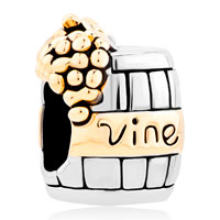 Charms Beads - silver with 14 k vine wine cask gold plated beads charms bracelets fit all brands Image.