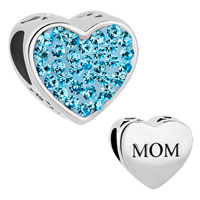Charms Beads - pugster?  mom aquamarine blue crystal heart for beads charms bracelets fit all brands Image.