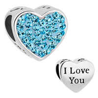 Charms Beads - mom aquamarine blue crystal heart i love you rhinestone beads charms bracelets fit all brands Image.