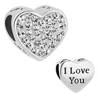Charms Beads - mom clear white crystal heart i love you rhinestone beads charms bracelets fit all brands Image.