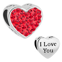 Charms Beads - light red crystal heart i love you rhinestone for beads charms bracelets fit all brands Image.