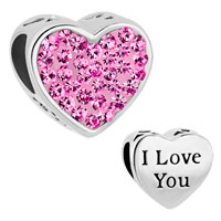 Charms Beads - rose pink crystal heart i love you rhinestone for beads charms bracelets fit all brands Image.