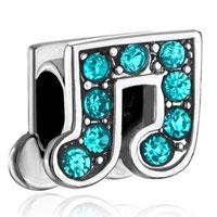Blue Swarovski Crystal Music Charm Bracelet Note European Bead