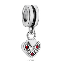 Charms Beads - silver red swarovski element heart charm bracelet spacer dangle Image.