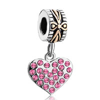 Charms Beads - 22k gold rose pink crystal diamond charm accent heart love dangle Image.