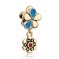 Charms Beads - silver golden flower charms bracelets dangle red blue crystal gift Image.