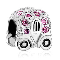 Charms Beads - jackolantern halloween pumpkin car with pink october births crystal Image.