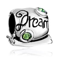 Charms Beads - cute snail dream green crystal august birthstone european bead Image.