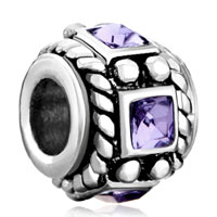 Charms Beads - vintage silver purple crystal amethyst beads charms bracelets fit all brands Image.