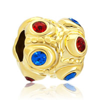 Charms Beads - red blue swarovski crystal golden european bead charms bracelets Image.