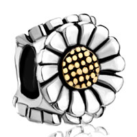 Charms Beads - golden sunflower floral two tone plated beads charms bracelets fit all brands Image.