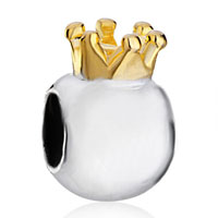 Charms Beads - silver plated little cute crown european bead charms bracelets Image.