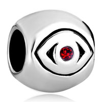 Charms Beads - silver july birthstone red swarovski crystal evil eye charm bracelet Image.