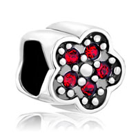 Sterling Silver Jewelry - birthstone charms cute red crystal plum flower 925 sterling silver gift jewelry beads fit charm bracelet Image.
