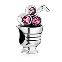 Sterling Silver Jewelry - cute pink crystal juice cup sterling silver fit beads charms bracelets all brands Image.