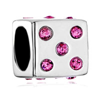 Sterling Silver Jewelry - pink crystal cz sieve sterling silver fit beads charms bracelets all brands Image.