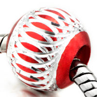 Charms Beads - silver red pattern lantern aluminum european bead charms bracelets Image.