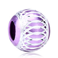 New Year Deals - silver plated amethyst purple enamel white stripes aluminum beads Image.