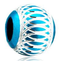 Charms Beads - pale blue pattern lantern aluminum european bead charms bracelets Image.